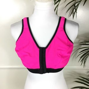 Cacique Pink Black Clasp Front Sports Bra 42C